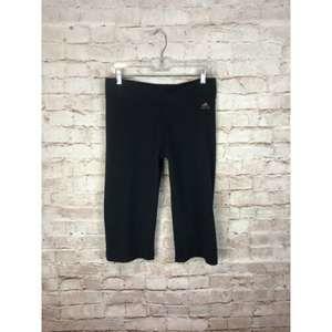 Adidas capri workout pants L black ruched gold